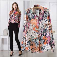 printed blouse 2015 fashion flower printed blouse chiffon in s blouses with
