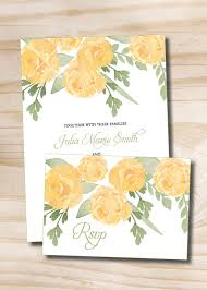Invitation Acceptance Cards Yellow Rose Watercolor Floral Wedding Invitation And Response Card