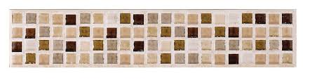 Wall Border Tiles Sandstorm Beige Stone Effect Mosaic Ceramic Border Tile L 250mm