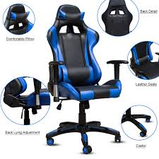 Gaming Chair Leather Executive Racing Gaming Chair Rake High Back Reclining Pu Leather