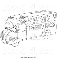 vector clip art of a coloring page of a panther character mascot