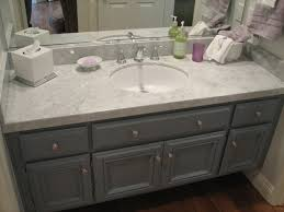 Grey Washed Cabinets Grey And White Guest Bath Update Carrera Marble Calabasas Ca Gray