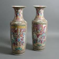 canton porcelain pair of xixth c canton porcelain large vases from a unique