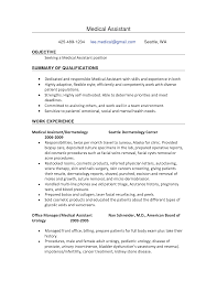 Sample Resume Templates Entry Level by Resumes For Medical Assistants Free Resume Example And Writing