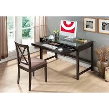 Glass Modern Desk Idabel Modern Desk With Glass Top Wood Brown Baxton Studio
