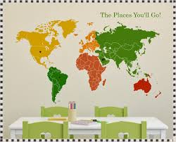World Map Decal by World Map Wall Decal Nursery World Map Wall Decal With Pins