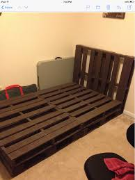 Pallet Bed Furniture Ideas My First Upload Homemade Full Sized Bed Wooden Pallets Mel