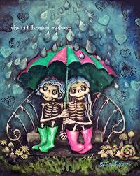 dia de los muertos home decor cute skeleton art day of the dead girlfriend art sisters rainy day