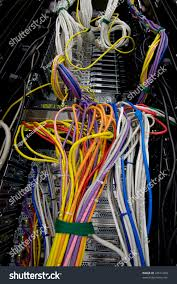 messy servers stack cabling data center stock photo 44511409