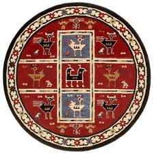 Round Burgundy Rug Handmade Wool Tribal Round Rug 6x6 U0027 169003 Rugs At Sportsman U0027s
