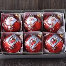 set of 6 matte european glass santa ornaments robertson