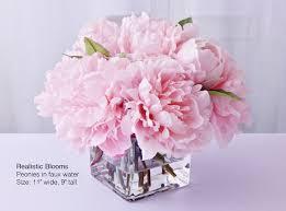 light pink blush silk peony peonies glass vase faux water