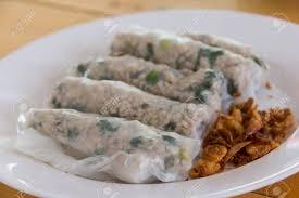 insert cuisine delicious food rice flour wrap insert pork grind