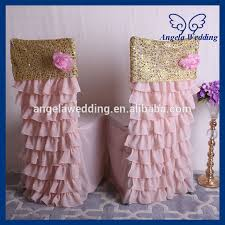 ruffled chair covers ch029a1 hot sale blush pink and gold ruffled wedding chiavari
