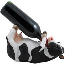 amazon com drinking cow wine bottle holder statue in country farm