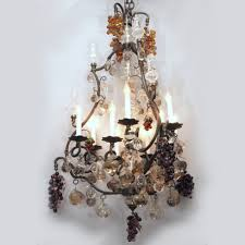 New Orleans Chandeliers Antique French Bronze And Baccarat Multicolored Prisms Fruit