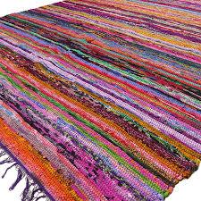 purple colorful decorative chindi woven boho bohemian rag rug