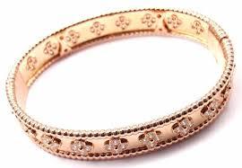 rose bangle bracelet images Van cleef and arpels perlee diamond clover rose gold bangle jpg