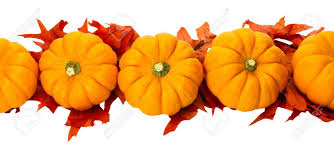 small pumpkins border element or centerpiece made of fall leaves and small