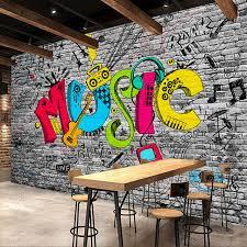 custom mural wall paper creative graffiti art brick wall painting ktv bar living room home