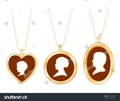 Gold Engraved Necklace Necklaces Family Antique Gold Engraved Jewelry Stock Vector