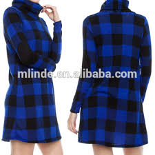designer ladies straight dress plaid print cowl neck long sleeve