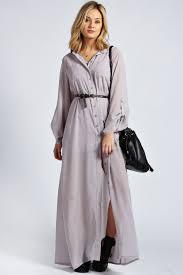 boohoo womens ladies una long sleeve maxi chiffon shirt dress ebay