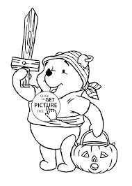 halloween and winnie the pooh coloring page for kids printable