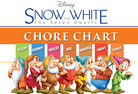 free printable snow white chore charts