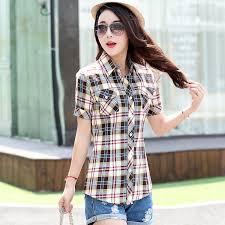 style blouse 2016 summer fashion plaid sleeve shirt summer