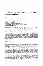 a cultural algorithm for solving the job shop scheduling problem