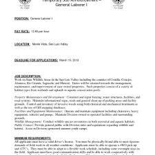 Laborer Job Description For Resume by Fresh General Laborer Job Description Entrancing General Laborer