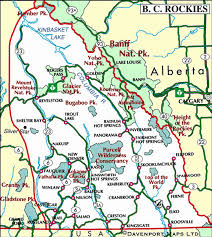 map of bc map of the kootenay rockies columbia travel and
