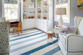 Blue Floor L White And Blue Boy Nursery With L Shaped Bookcase Traditional