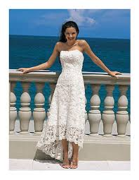 elegant empire strapless tea length petite lace beach wedding