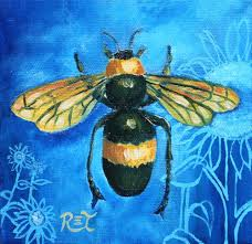 bee painting insect print blue and yellow bumble bee u0026