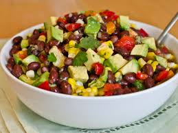 black bean corn and red pepper salad with lime cilantro