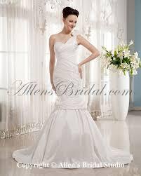 allens bridal satin one shoulder court train mermaid wedding