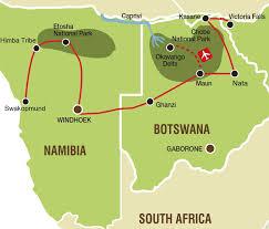 Botswana Map Namibia And Botswana Safaris L Swakopmund To Victoria Falls