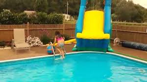 Backyard Blow Up Pools by More Fun On Crazy Inflatable Pool Slide Banzai Blaster Inground