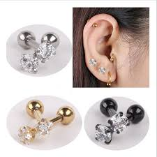 bar earring cartilage aliexpress buy isayoe 2 316l stainless steel zircon