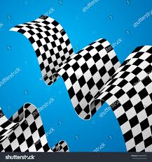 Blue White And Black Flag Checkered Racing Flag Background On Blue Stock Vector 548085862