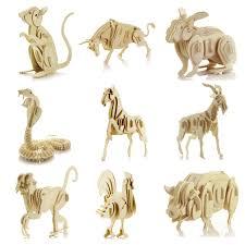 starz diy 3d wooden animals skeleton puzzles toys static model