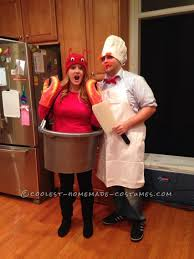 super easy homemade costume for couples swedish chef and lobster