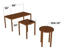 depth and table sizing furniture table width and depth chief s shop