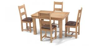 constance oak 125 cm dining table and 4 chairs quercus living