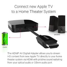 connect tv audio to home theater amazon com kanex digital adapter compatible with apple tv 4th