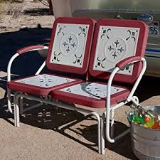 Outdoor Metal Furniture by Amazon Com Coral Coast Paradise Cove Retro Metal Outdoor Glider