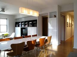 Cool Pendant Lights by Open Plan Dining Room Wood Legs Beige Chair Glass Window Celling