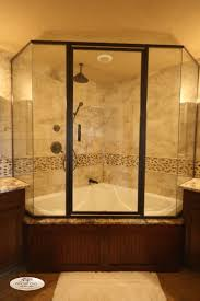 nice corner shower and bathtub combo with glass shower enclosure